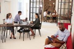 Jonge beroeps die in een open planbureau werken stock afbeelding