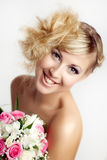 Jonge blonde glimlach stock foto