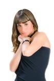 Jonge blonde status in zwarte kleding royalty-vrije stock afbeelding