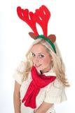 Jonge blonde vrouw met hoornen Royalty-vrije Stock Foto's