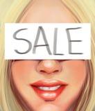 Jonge blondevrouw met een inschrijving op verkoop in de stijl van olieverfschilderij royalty-vrije stock fotografie