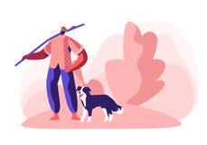 Jonge Blootvoetse Mens in Kafhoedenplank met Lange Stok op Schouder en Stro in Mond met Hond dichtbij zijn Been Herder Character royalty-vrije illustratie