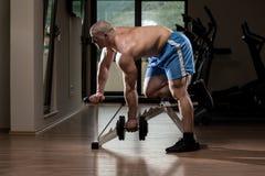 Jonge Bodybuilderoefening terug in de Gymnastiek Stock Fotografie