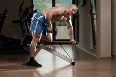 Jonge Bodybuilderoefening terug in de Gymnastiek Royalty-vrije Stock Afbeeldingen