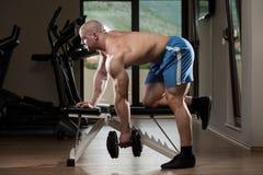 Jonge Bodybuilderoefening terug in de Gymnastiek Stock Foto