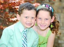 Jonge broer en zuster Stock Foto