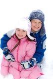 Jonge Broer en Zuster in Sneeuw stock afbeeldingen