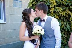 Jonge bruid en bruidegomgang in aard Royalty-vrije Stock Afbeeldingen