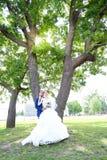 Jonge bruid en bruidegomgang in aard Royalty-vrije Stock Afbeelding