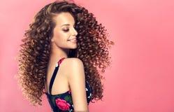 Jonge, bruine haired vrouw met dichte, elastische krullen in een kapsel Portret in profiel royalty-vrije stock afbeelding