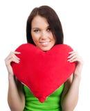 Jonge brunette met rood geïsoleerdg hart Royalty-vrije Stock Afbeeldingen