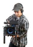 Jonge cameraman met filmcamera Stock Foto's