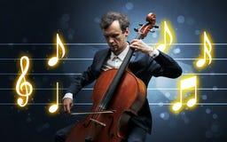 Jonge cellist met muziekblad royalty-vrije stock afbeeldingen