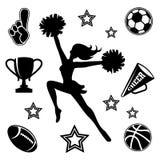 Jonge cheerleader met bijbehorende pictogrammen Stock Afbeeldingen