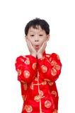 Jonge Chinese jongen in traditioneel kostuum royalty-vrije stock afbeelding