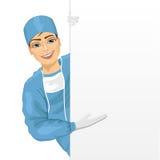 Jonge chirurg die in blauw scrunkostuum lege presentatiebanner voorstellen stock illustratie