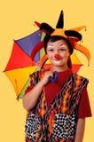 Jonge Clown met Paraplu Royalty-vrije Stock Afbeelding
