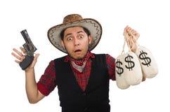 Jonge cowboy met kanon en geld geïsoleerde zakken Royalty-vrije Stock Afbeelding
