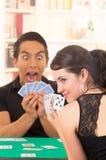 Jonge cuarenta van paarspeelkaarten Royalty-vrije Stock Afbeelding