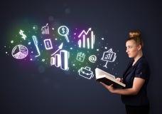 Jonge dame die een boek met bedrijfspictogrammen lezen stock illustratie