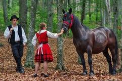 Jonge dame die een paard strijken royalty-vrije stock fotografie