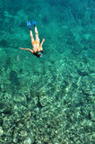 Jonge dame die over koraalriffen snorkelen Stock Fotografie