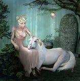 Jonge dame en een witte eenhoorn royalty-vrije illustratie