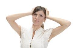 Jonge dame in frustratie stock foto