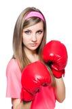 Jonge dame met bokshandschoenen Stock Afbeelding