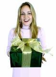 Jonge Dame met Gift (Kerstmis/Verjaardag) Stock Afbeeldingen