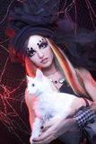 Jonge dame met kat Stock Foto