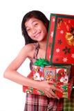 Jonge dame met Kerstmisgiften stock afbeelding
