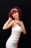 Jonge dame met rood haar stock afbeelding