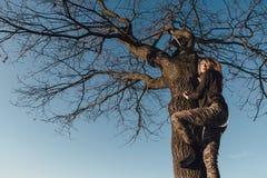 Jonge dame op een boom bij zonsondergang Royalty-vrije Stock Foto