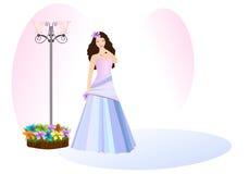 Jonge dame in promkleding, cdr vector royalty-vrije illustratie