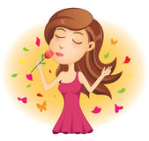 Jonge Dame Smelling Red Rose Stock Foto's