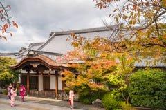Jonge dames in traditioneel Japans kostuum bij Kiyomizu-tempel, Kyoto royalty-vrije stock foto