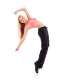 Jonge dansende vrouw op witte achtergrond Royalty-vrije Stock Afbeeldingen