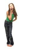 Jonge de celtelefoon van de vrouwenholding Stock Afbeeldingen