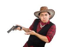 Jonge die cowboy op het wit wordt geïsoleerd Stock Afbeeldingen