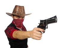 Jonge die cowboy op het wit wordt geïsoleerd Stock Foto's