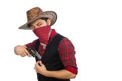 Jonge die cowboy op wit wordt geïsoleerd Stock Fotografie