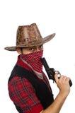 Jonge die cowboy op wit wordt geïsoleerd Stock Afbeelding