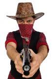 Jonge die cowboy op wit wordt geïsoleerd stock foto's