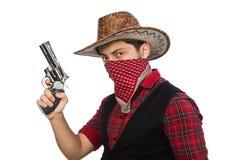 Jonge die cowboy op wit wordt geïsoleerd Royalty-vrije Stock Afbeelding