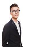 Jonge die mens in glazenportret bij wit wordt geïsoleerd royalty-vrije stock afbeeldingen