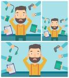 Jonge die mens met zijn gadgets wordt omringd stock illustratie