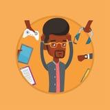Jonge die mens met zijn gadgets wordt omringd royalty-vrije illustratie