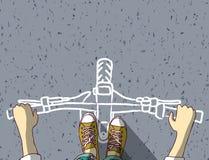 Jonge die mensenvoeten en Fiets op asfalt hoogste mening worden geschilderd Vector Illustratie