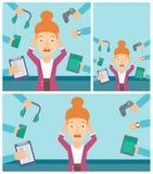Jonge die vrouw met haar gadgets wordt omringd vector illustratie